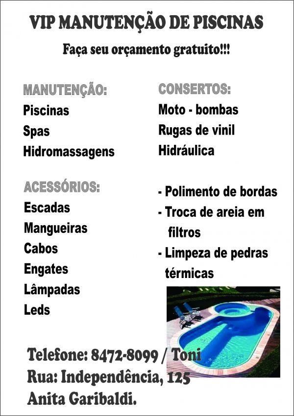 Vip manutenção de piscinas e vendas